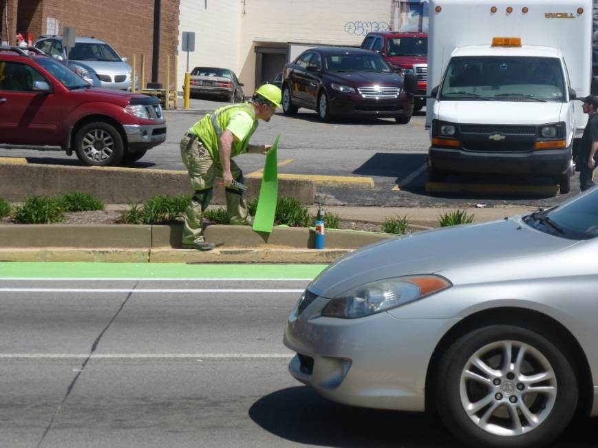 Installing the Green Bike Lane